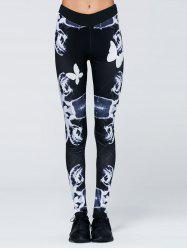 Butterfly and Plaid Print Yoga Pants