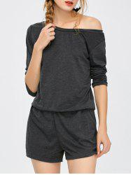Elastic Waist Long Sleeve Romper - DEEP GRAY