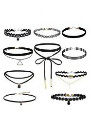 Flower Geometric Bar Choker Necklace Set