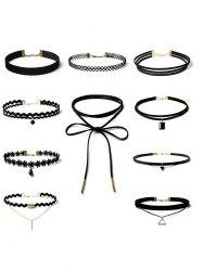 Flower Triangle Bar Choker Necklace Set - BLACK