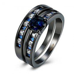 Artificial Sapphire Circle Couple Finger Rings
