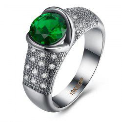 Rhinestone Artificial Emerald Circle Ring