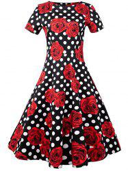 Plus Size Pattern Polka Dot Vintage Dress