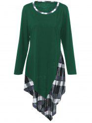 Plus Size Plaid Trim Asymmetric T-Shirt