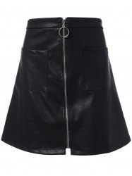 Zippered Faux Leather Plus Size Mini Skirt