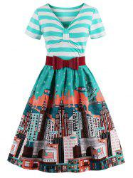 Striped Bowknot Printed Flare Dress - CYAN