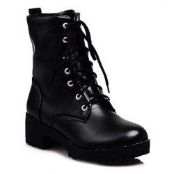 Chunky Heel Faux Leather Short Boots