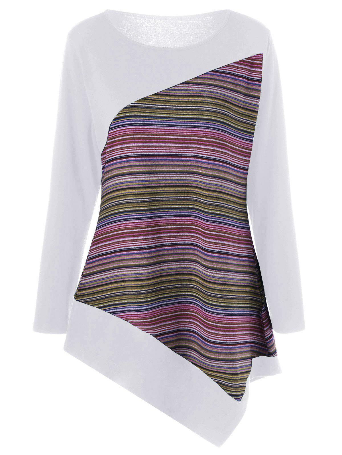 Outfits Long Sleeve Colorful Striped Asymmetric Tunic T-Shirt