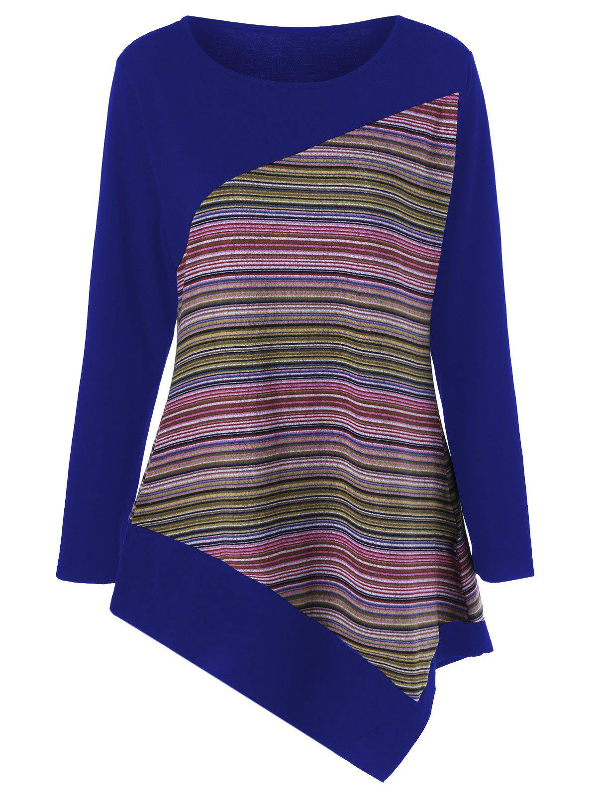 Store Long Sleeve Colorful Striped Asymmetric Tunic T-Shirt