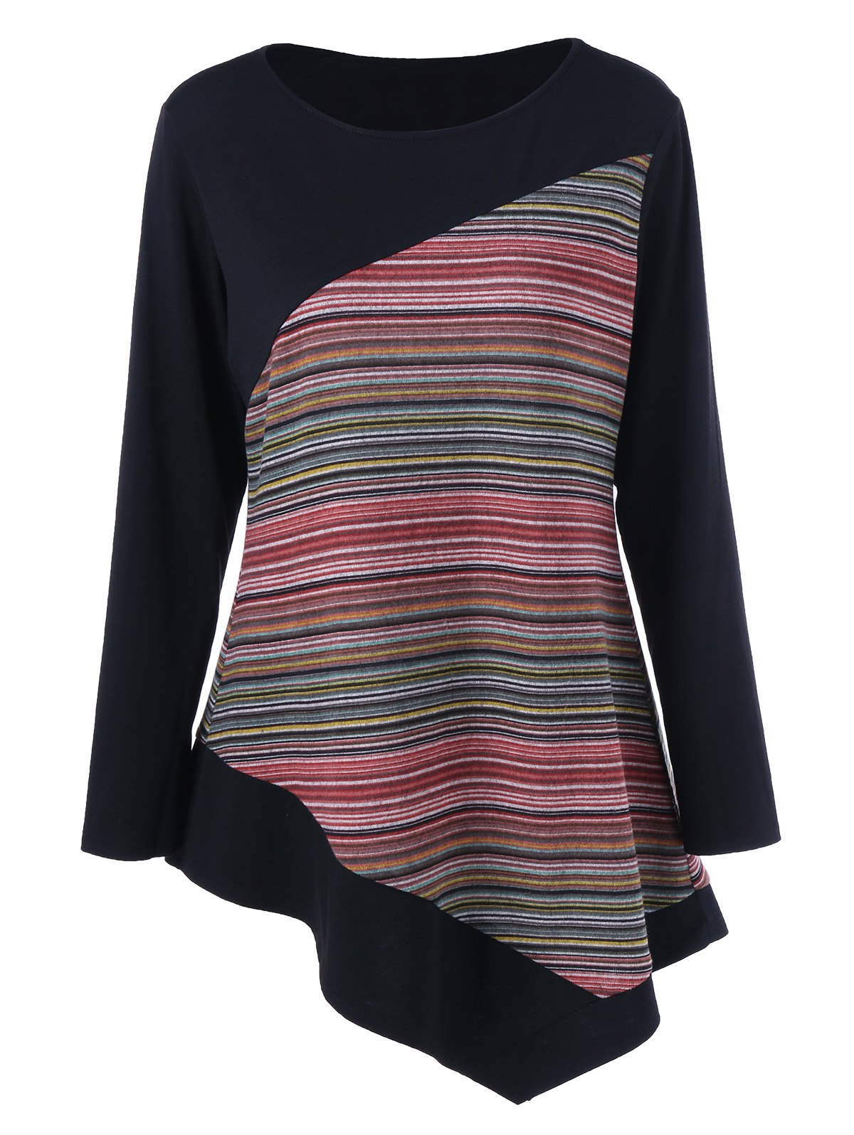 Hot Long Sleeve Colorful Striped Asymmetric Tunic T-Shirt