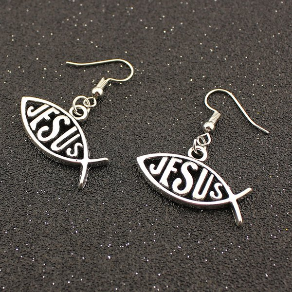 Outfits Letter Fish Drop Earrings