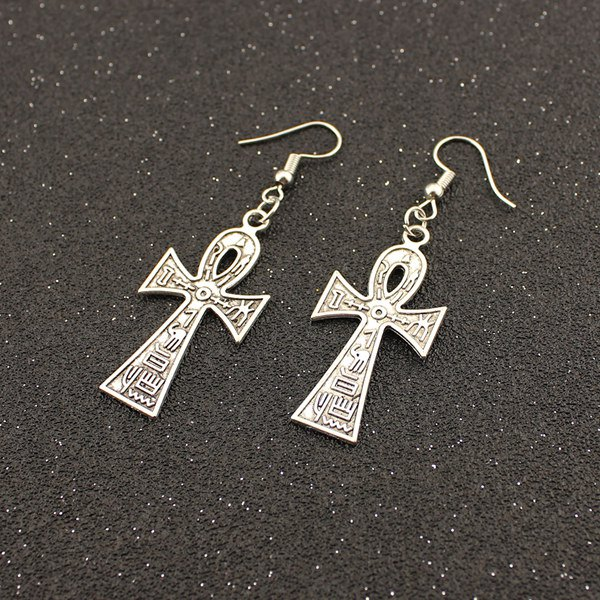Embossed Cross Drop EarringsJEWELRY<br><br>Color: TB009 SILVER; Earring Type: Drop Earrings; Gender: For Women; Metal Type: Alloy; Style: Trendy; Shape/Pattern: Cross; Weight: 0.025kg; Package Contents: 1 x Earrings(Pair);