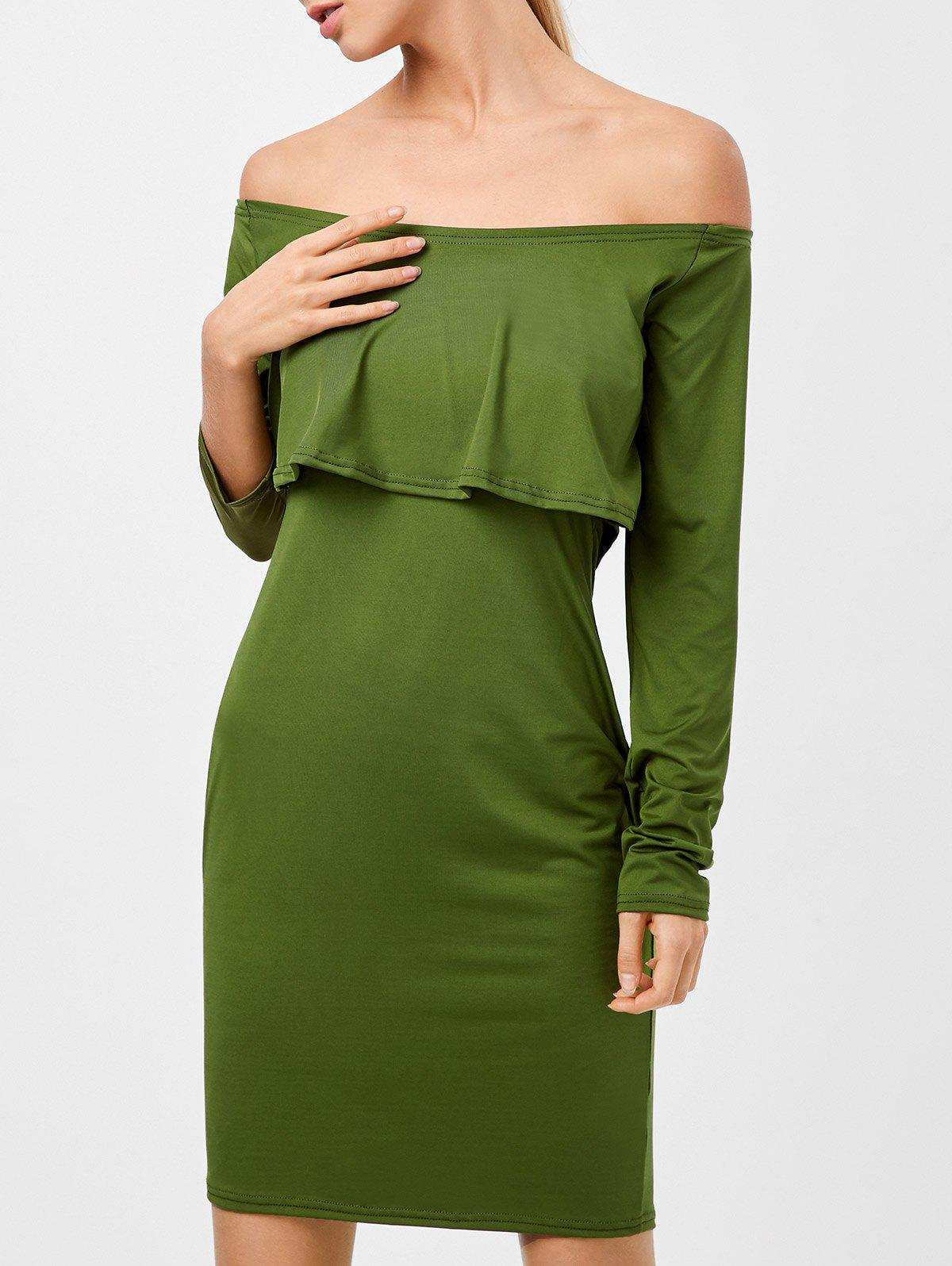 Best Long Sleeves Flounced Off The Shoulder Dress