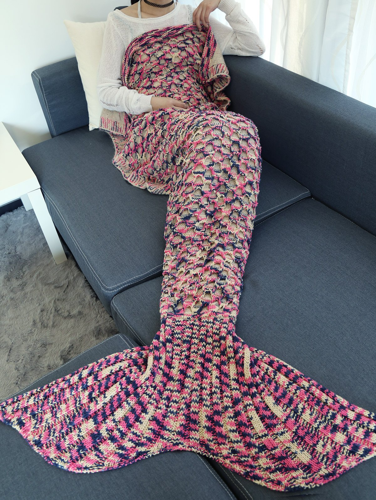 Fancy Camouflage Pattern Crochet Knit Mermaid Blanket Throw
