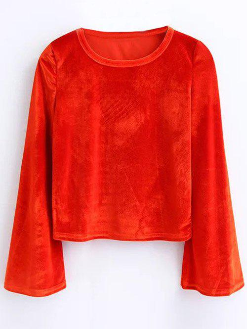 Affordable Bell Sleeve Cropped Velvet Top