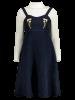 Pinafore Embroidered A-Line Dress With Fitting Knitwear -
