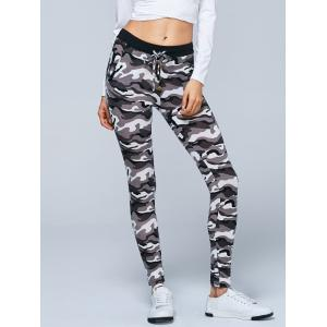 Button Decorated Camouflage Pencil Pants