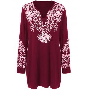 Plus Size Printed Longline Tee - Burgundy - Xl