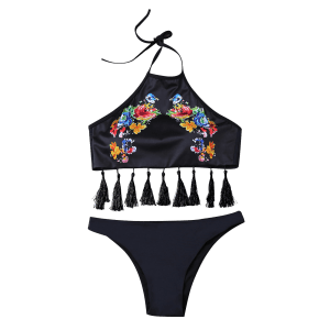 Bohemian Halter High Neck Tasselled Bikini - BLACK L