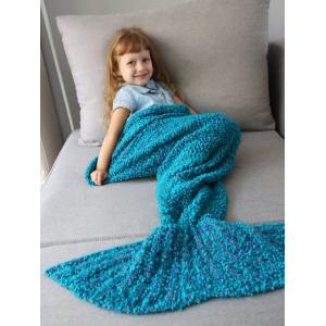 Home Decor Crochet Knitted Imitation Shearling Mermaid Blanket Throw For Kids - Oasis - W79 Inch * L59 Inch