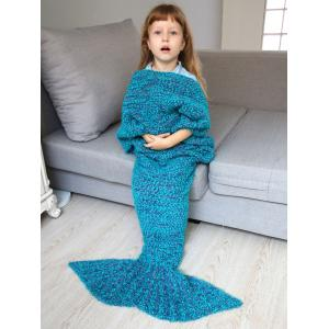 Home Decor Crochet Knitted Imitation Shearling Mermaid Blanket Throw For Kids -