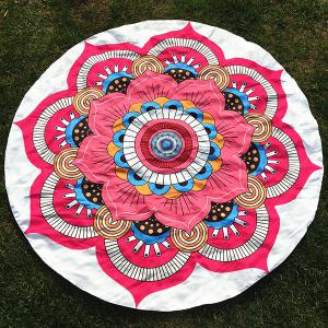 Round Beach Throw with Big Handpainted Floral Printed
