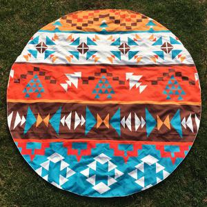 Round Beach Throw with Bohemian Geometry Printed