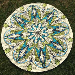 Round Beach Throw with Rhinestone Flower Printed
