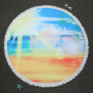Summer Panadise Printed Round Beach Throw with Fringed