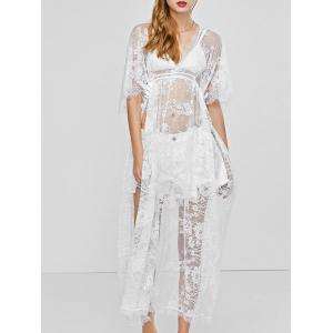 Slit V Neck Maxi Lace Cover-Up Beach Dress