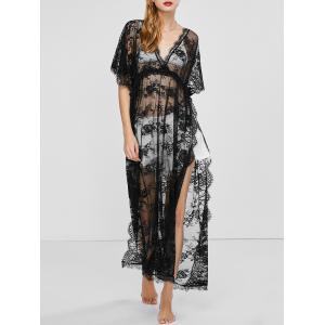 Slit V Neck Maxi Lace Cover-Up Beach Dress - Black - One Size