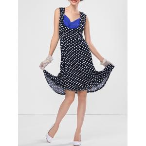 Polka Dot Sweetheart Neck Dress - Blue - S