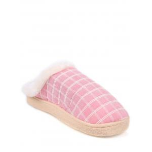 Faux Fur Trim Checked Grid Plaid Indoor Slippers