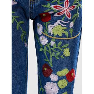 Floral Embroidered Ankle Jeans - BLUE S