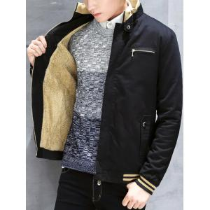 Flocking Zippered Pocket Rib Insert Jacket -
