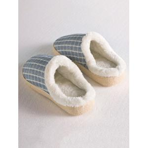Checked Flocking House Slippers - STONE BLUE SIZE(42-43)