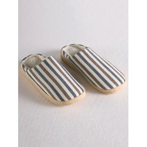 Flat Heel Stripe House Slippers - Light Coffee - Size(42-43)