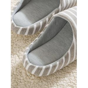 Striped Cotton Fabric House Slippers - GRAY 42