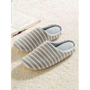 Striped Cotton Fabric House Slippers - GRAY 40