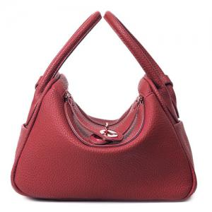 Textured Leather Twist Lock Tote Bag - Burgundy - 42