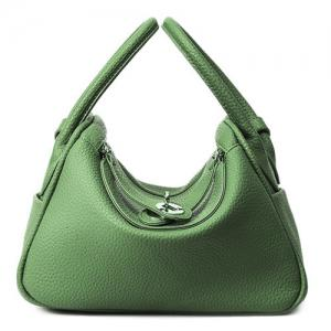 Textured Leather Twist Lock Tote Bag - Green