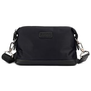 PU Panel Nylon Clutch Bag - Black