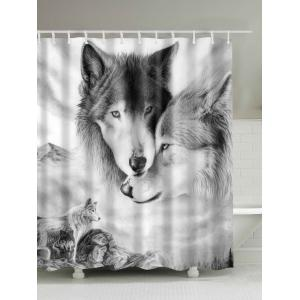 Wolf 3D Digital Printed Shower Curtain - White Grey - 180cm*180cm