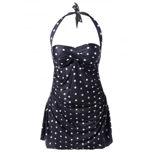Plus Size Wire Free Polka Dot Halter Tankini Set