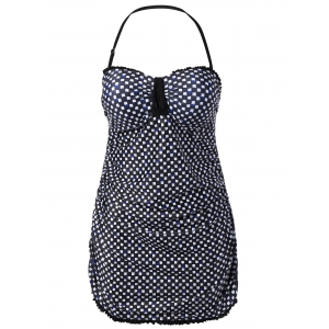 Plus Size Padded Geometric Ruffled Halter Tankini