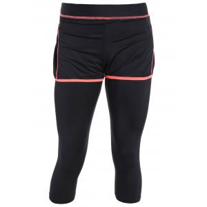 Active Gym Capri Leggings With Shorts - Black And Orange - S