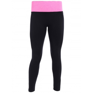 Tight Fit Sports Running Leggings - Black And Rose Red - S