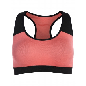 Pullover Push Up Racerback Sports Yoga Bra - Black And Pink - Xl