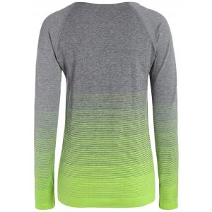 Ombre Long Sleeve Running Gym Top With Thumb Hole -