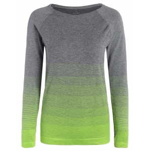 Ombre Long Sleeve Running Gym Top With Thumb Hole - Neon Green - S